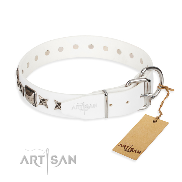 Durable studded dog collar of full grain genuine leather