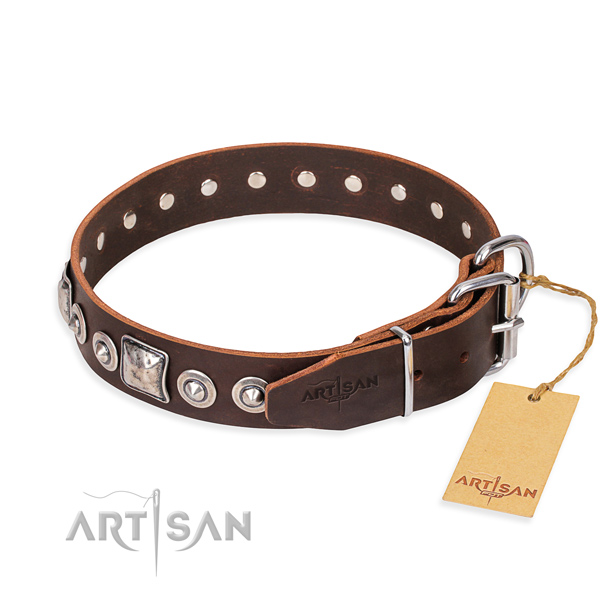 Genuine leather dog collar made of reliable material with strong studs