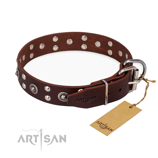 Corrosion proof hardware on leather collar for your impressive canine