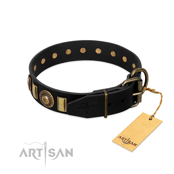 High quality full grain natural leather dog collar with studs