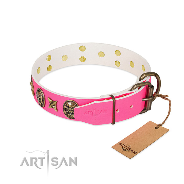 Corrosion proof buckle on natural genuine leather collar for stylish walking your canine