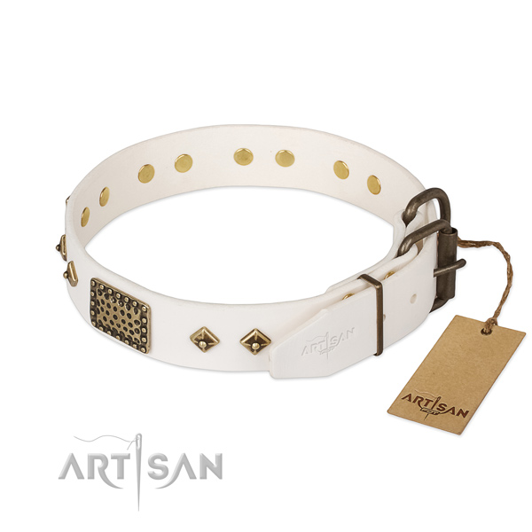 Full grain natural leather dog collar with durable buckle and adornments