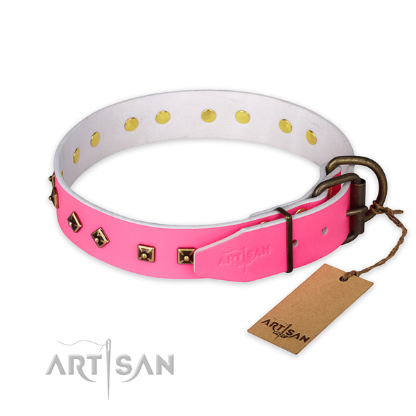 Corrosion resistant buckle on natural leather collar for stylish walking your canine