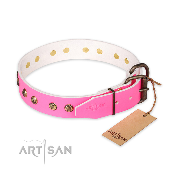 Rust resistant traditional buckle on full grain genuine leather collar for your stylish doggie
