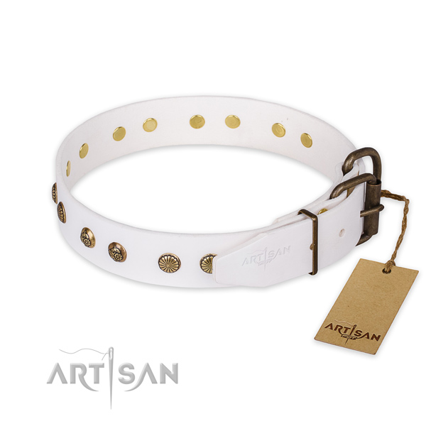 Corrosion proof hardware on natural genuine leather collar for your stylish doggie