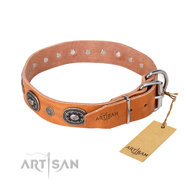 High quality natural genuine leather dog collar created for stylish walking