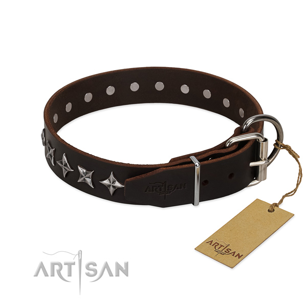 Handy use adorned dog collar of reliable genuine leather