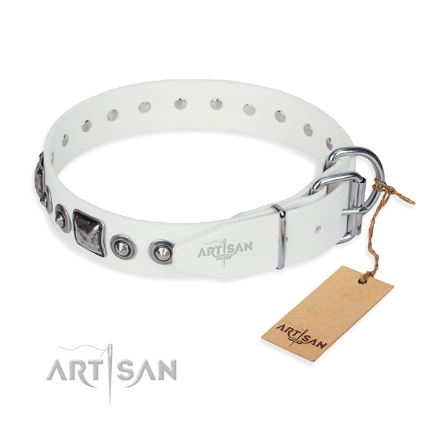 Top notch leather dog collar handmade for comfortable wearing