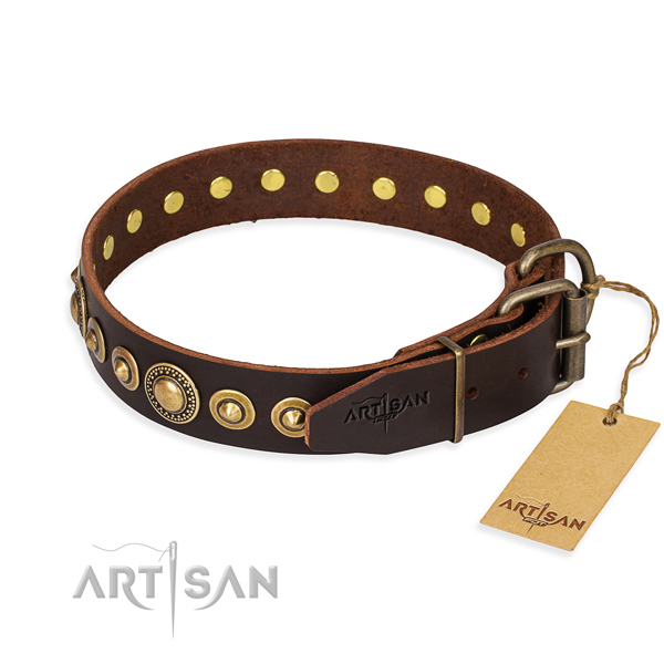 Quality natural genuine leather dog collar created for fancy walking