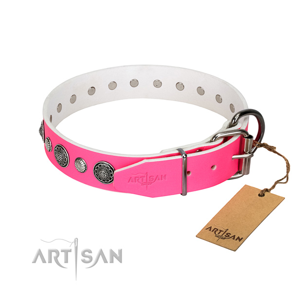 Soft leather dog collar with corrosion proof traditional buckle