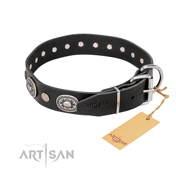 Top notch genuine leather dog collar crafted for basic training