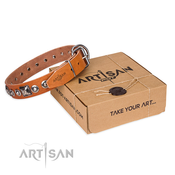 Leather dog collar made of top rate material with reliable fittings