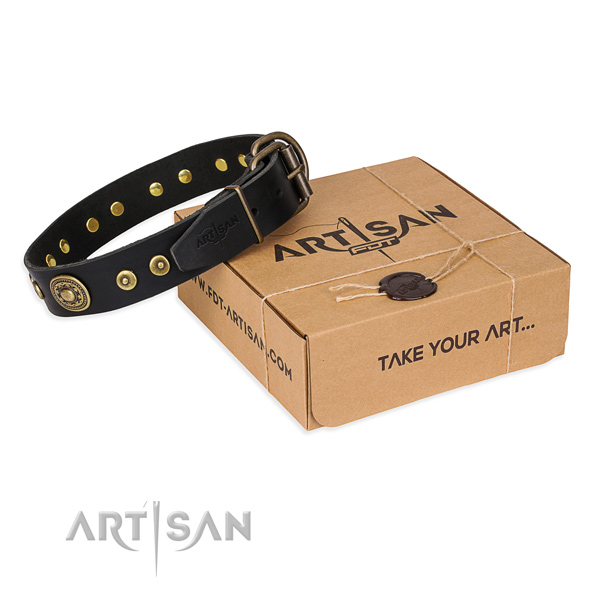 Natural genuine leather dog collar made of soft material with corrosion resistant traditional buckle