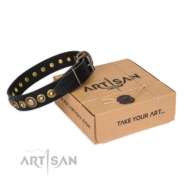Flexible genuine leather dog collar handmade for stylish walking