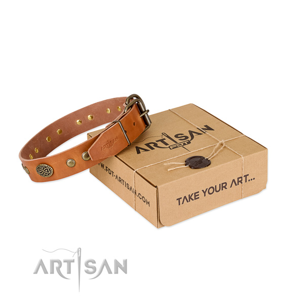 Rust resistant embellishments on full grain genuine leather dog collar for your dog