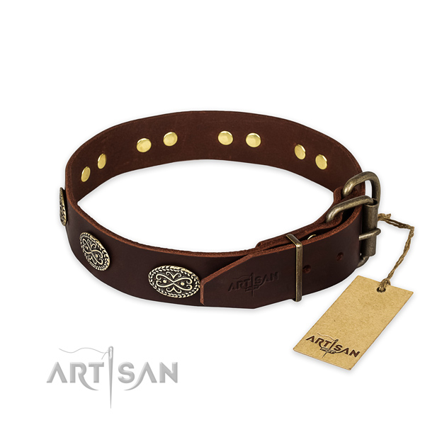 Rust-proof hardware on full grain leather collar for your attractive dog