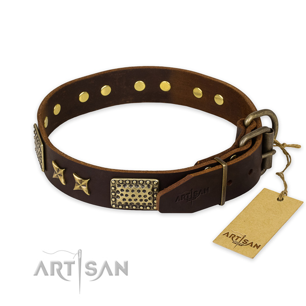 Corrosion resistant hardware on genuine leather collar for your attractive four-legged friend