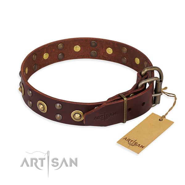 Reliable fittings on full grain natural leather collar for your lovely canine