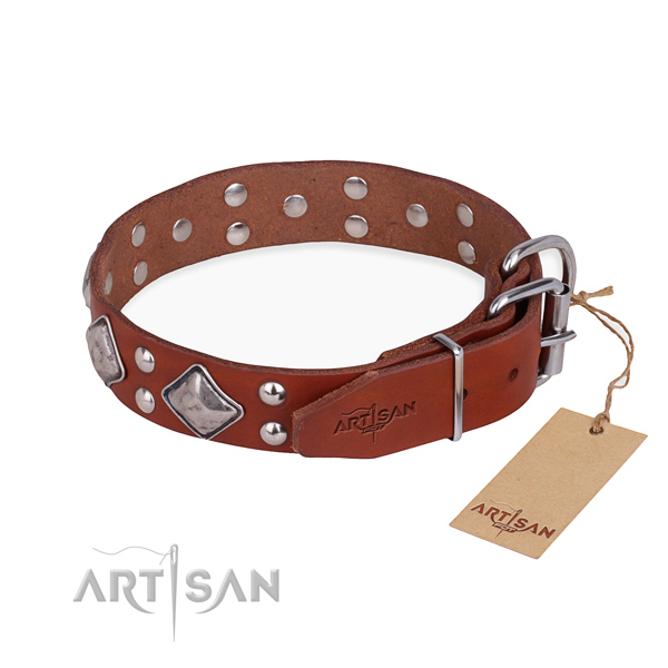 Full grain genuine leather dog collar with significant rust resistant decorations
