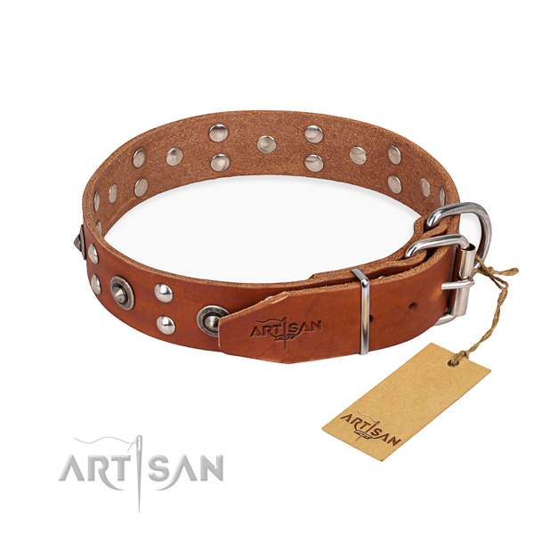Rust resistant fittings on full grain natural leather collar for your lovely pet