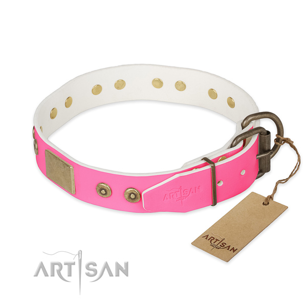 Rust resistant decorations on comfortable wearing dog collar