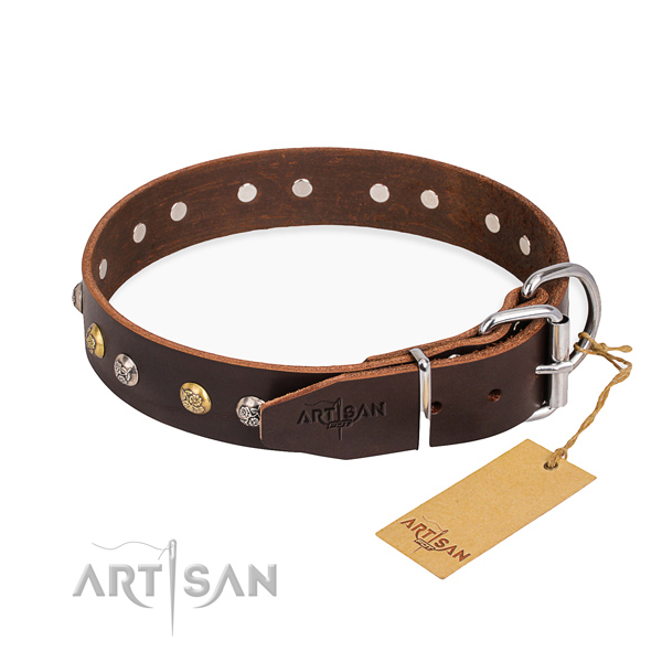 Best quality natural genuine leather dog collar created for walking