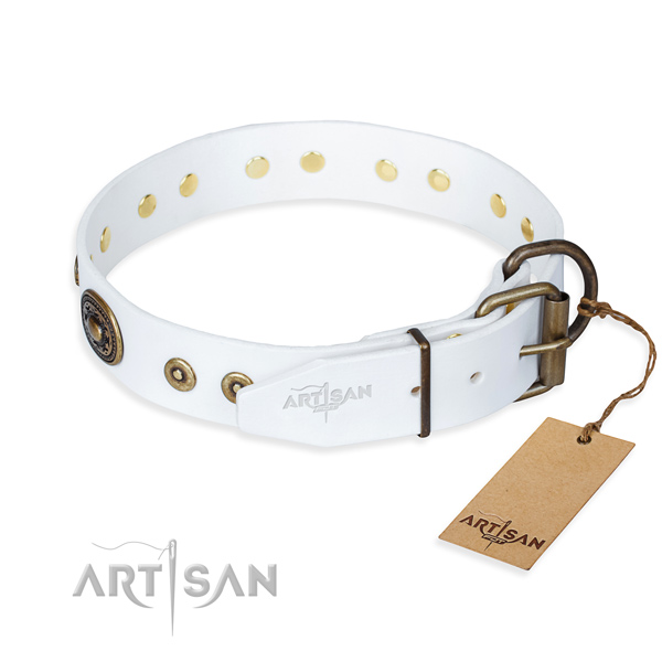 Full grain genuine leather dog collar made of flexible material with durable embellishments