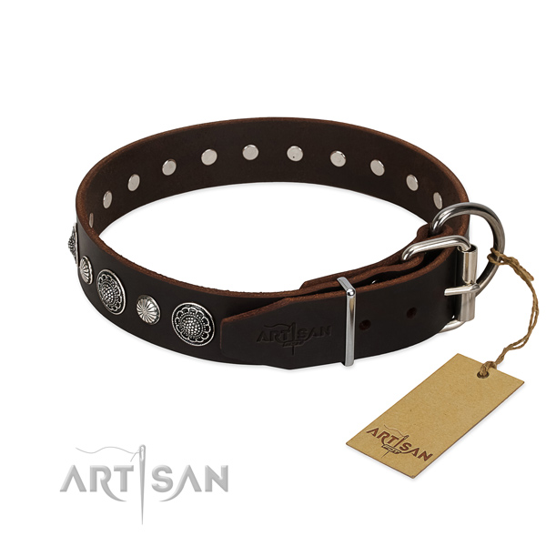 Durable leather dog collar with corrosion resistant hardware