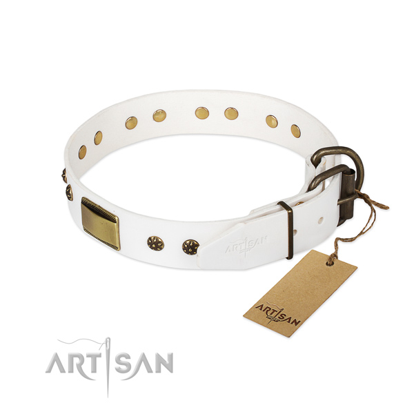 Genuine leather dog collar with corrosion resistant D-ring and decorations