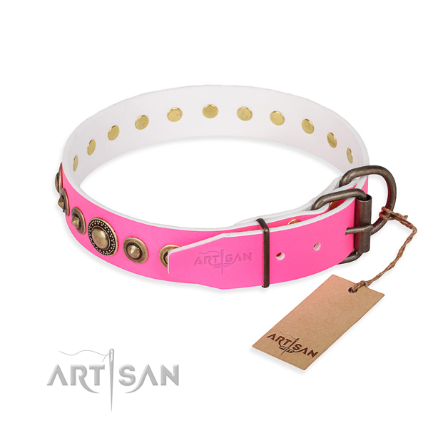 Durable genuine leather dog collar crafted for fancy walking