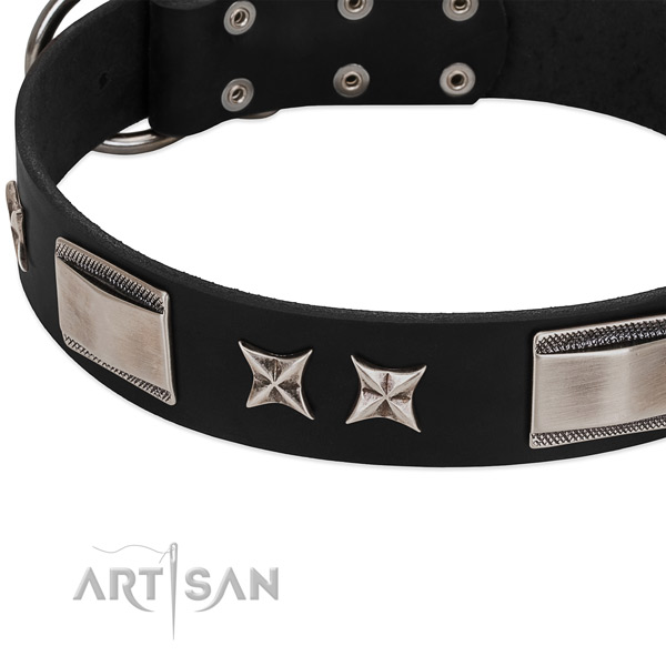Top rate full grain genuine leather dog collar with reliable fittings