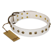 """Snow Cloud"" FDT Artisan White Leather Siberian Husky Collar with Square and Rhomb Studs"