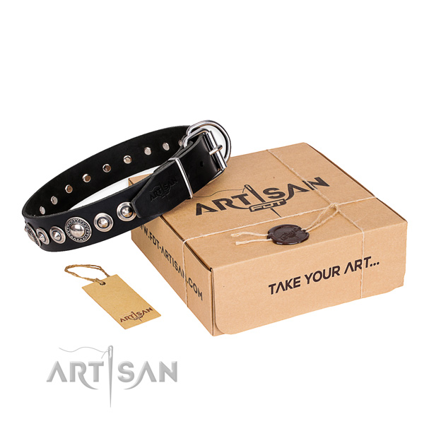 Fine quality full grain natural leather dog collar