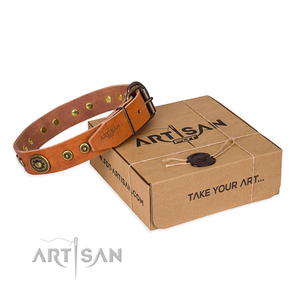Full grain genuine leather dog collar made of best quality material with rust-proof D-ring