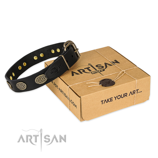 Corrosion resistant buckle on full grain leather collar for your beautiful pet