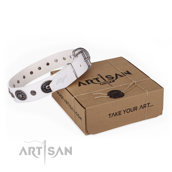 Reliable full grain natural leather dog collar handmade for easy wearing