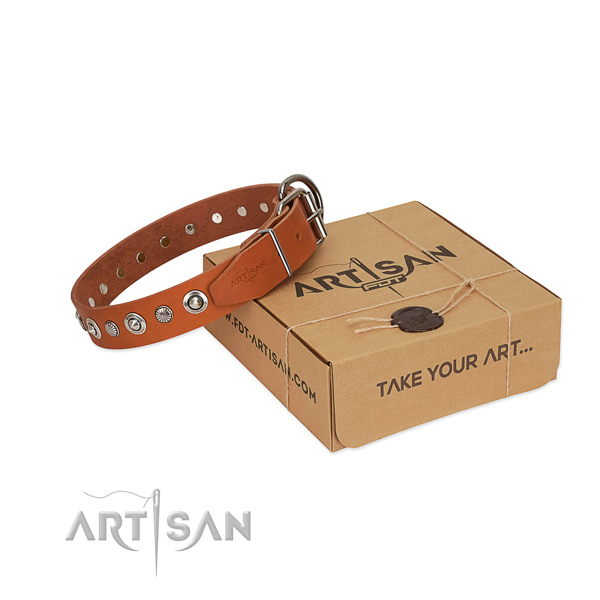 Reliable full grain natural leather dog collar with significant decorations
