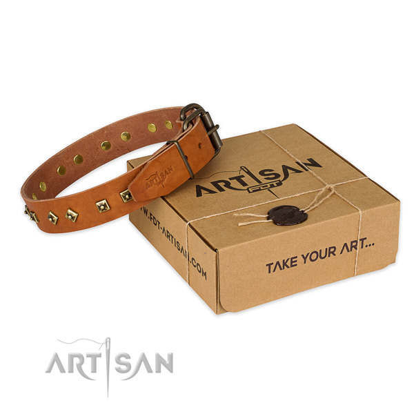 Strong fittings on natural leather dog collar for handy use