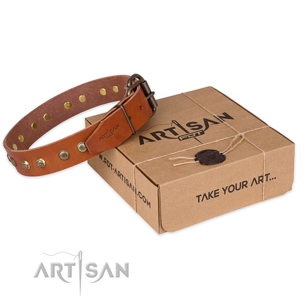 Corrosion proof hardware on natural genuine leather collar for your lovely pet