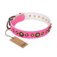 """Pink Gloss"" FDT Artisan Leather Siberian Husky Collar with Old-Bronze Plated Circles and Studs"