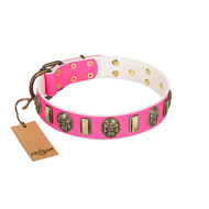 """Perilous Beauty"" Pink FDT Artisan Leather Siberian Husky Collar with Small Plates and Skulls"