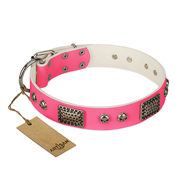 """Fashion Skulls"" FDT Artisan Pink Leather Siberian Husky Collar with Old Silver Look Plates and Skulls"