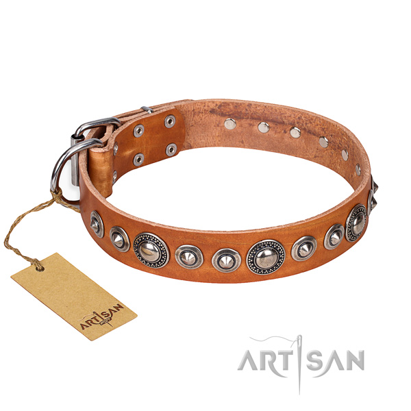 Full grain genuine leather dog collar made of quality material with corrosion proof buckle
