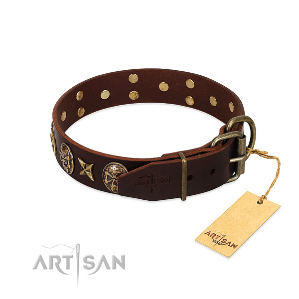 Genuine leather dog collar with rust-proof D-ring and decorations