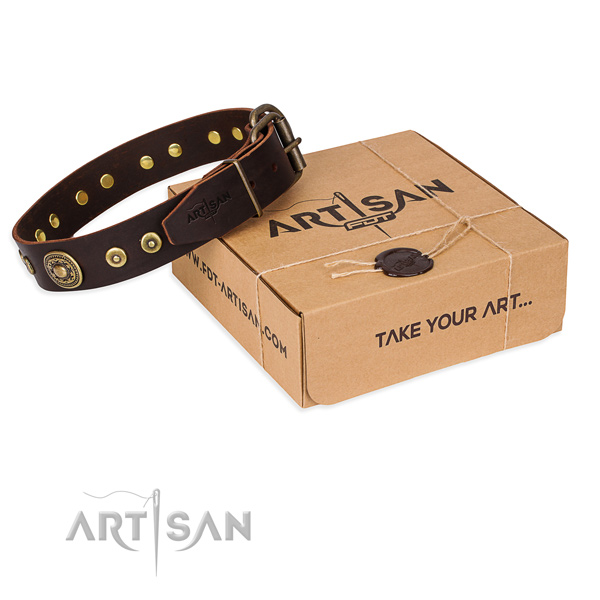 Leather dog collar made of quality material with rust resistant fittings