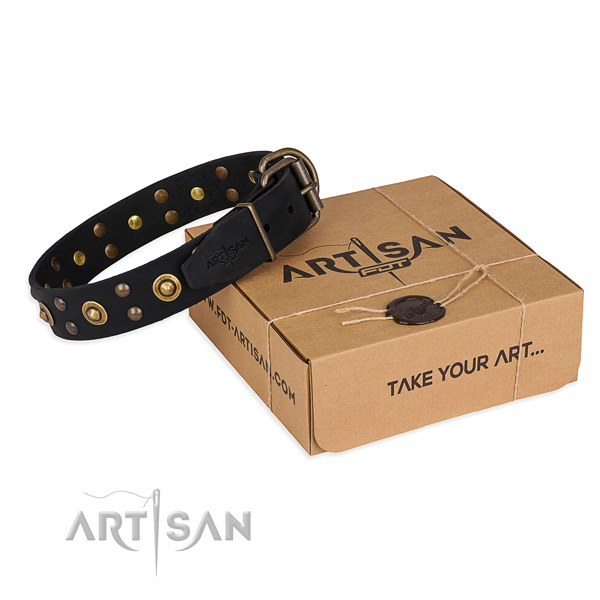 Durable D-ring on genuine leather collar for your attractive doggie