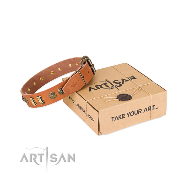 Reliable D-ring on full grain genuine leather dog collar for your four-legged friend