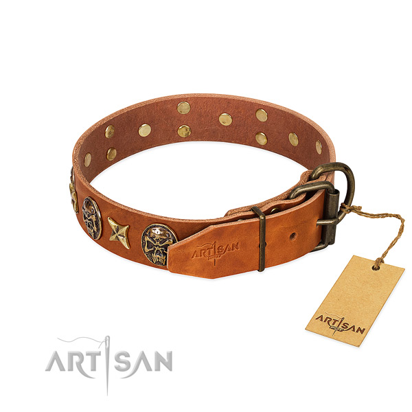 Genuine leather dog collar with corrosion proof traditional buckle and decorations