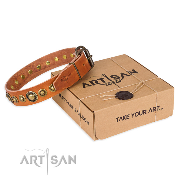 Reliable leather dog collar handmade for easy wearing