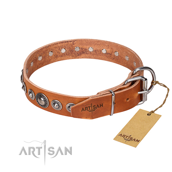 Leather dog collar made of reliable material with reliable decorations